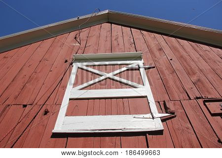Looking up at barn door in leeping Bear Dunes National Lakeshore, Empire, Michigan poster