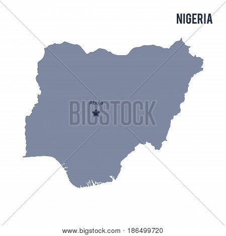 Vector map of Nigeria isolated on white background. Travel Vector Illustration.