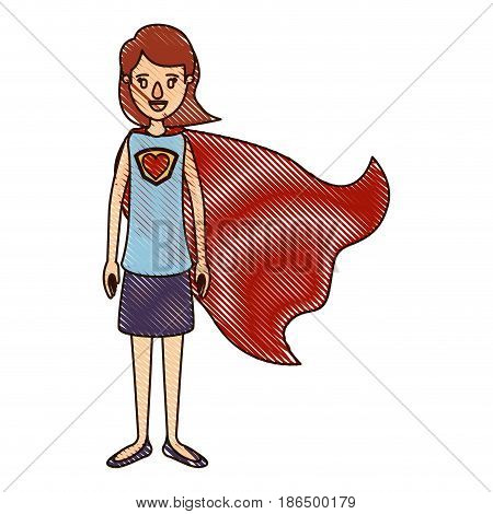 color crayon stripe cartoon full body super hero woman with short hair and cap vector illustration