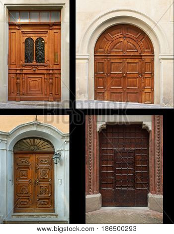 Collage set of 4 four European old retro classical wooden doors and gates from Italy, Switzerland. Square, arc arch round curve shapes, classic architecture and architectural elements