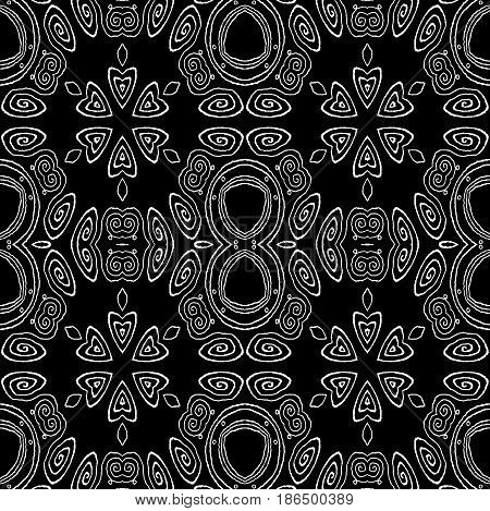 Abstract geometric seamless background. Regular ellipses and spiral ornaments white on black, ornate and dreamy.