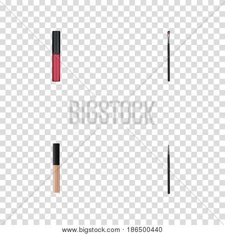 Realistic Eye Paintbrush, Liquid Lipstick, Cover And Other Vector Elements. Set Of Greasepaint Realistic Symbols Also Includes Brow, Cover, Stick Objects.