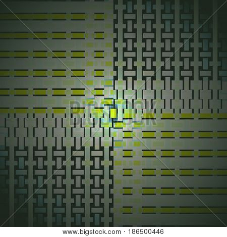 Abstract geometric background. Regular rectangles pattern pale green, lemon lime green and dark gray, shifted and shiny.