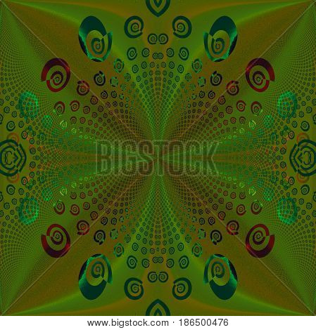 Abstract geometric background. Regular spirals pattern in olive green and ocher brown shades with turquoise green and red elements, ornate and centered.