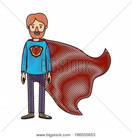 color crayon stripe cartoon full body super dad hero with beard and heart symbol in uniform vector illustration