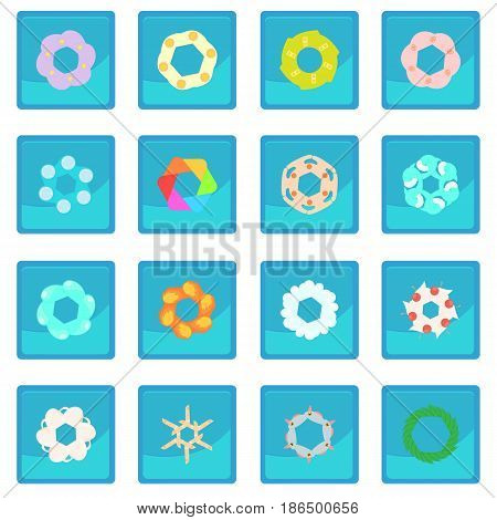 Photo diaphragm set in cartoon style isolated on white background