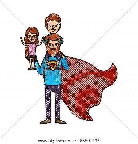 color crayon stripe cartoon full body super dad hero with girl on his hand and boy on his back vector illustration