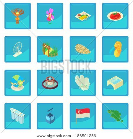 Cartoon Singapore icon blue app for any design vector illustration