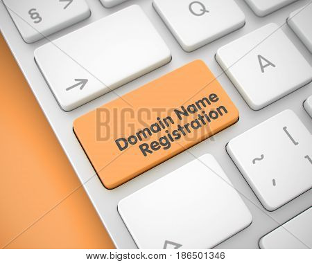 Business Concept: Domain Name Registration on Computer Keyboard lying on Orange Background. Computer Keyboard with Domain Name Registration Orange Button. 3D Render.