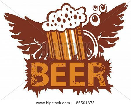 vector banner with a overflowing glass of beer and wings in retro style