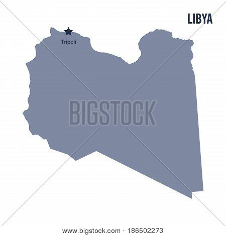 Vector map of Libya isolated on white background. Travel Vector Illustration.