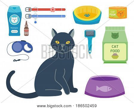 Colorful cat accessory and cute vector animal icons collection pet equipment elements food domestic feline illustration. Safety grooming design carry supplies and funny toys.