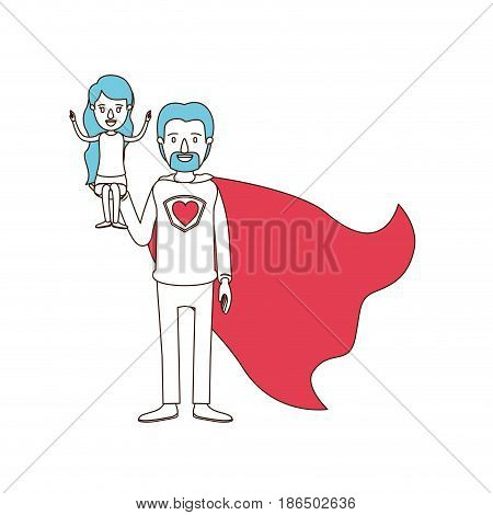 silhouette cartoon with color sections of full body super dad hero with girl on his hand vector illustration