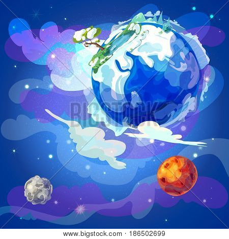 Cartoon Earth planet in space template with winter nature landscape Mars and moon on blue cosmic background vector illustration