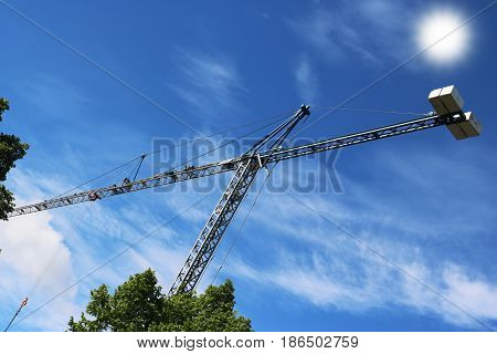 Crane built buildings and houses construction industry structure metal