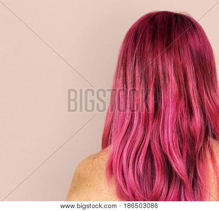 Pink Hair Woman Topless Studio Portrait