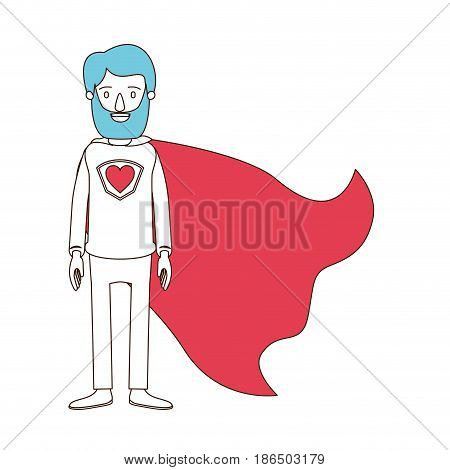 silhouette cartoon with color sections of full body bearded super man hero with heart symbol in uniform vector illustration