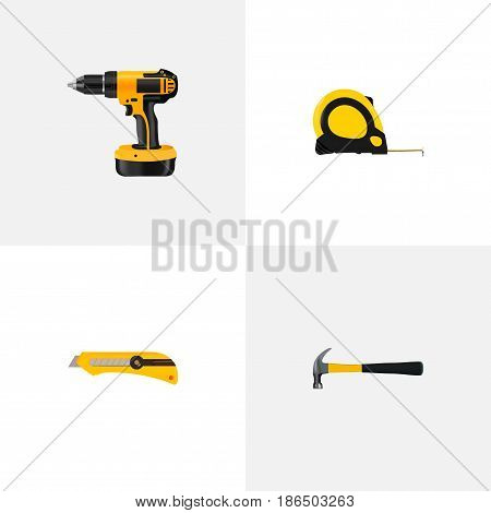 Realistic Claw, Stationery Knife, Electric Screwdriver And Other Vector Elements. Set Of Tools Realistic Symbols Also Includes Roller, Cutter, Stationery Objects.