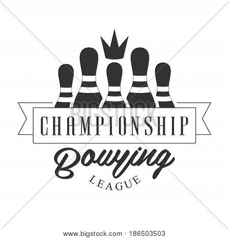 Championship bowling league vintage label. Black and white vector Illustration for bowling club emblem, tournament, champion, challenge