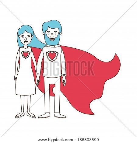 silhouette cartoon with color sections of full body couple parents super hero with uniform and cap vector illustration