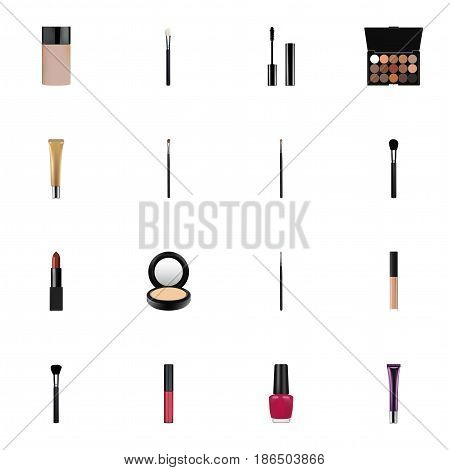 Realistic Fashion Equipment, Varnish, Collagen Tube And Other Vector Elements. Set Of Maquillage Realistic Symbols Also Includes Makeup, Foundation, Multicolored Objects.