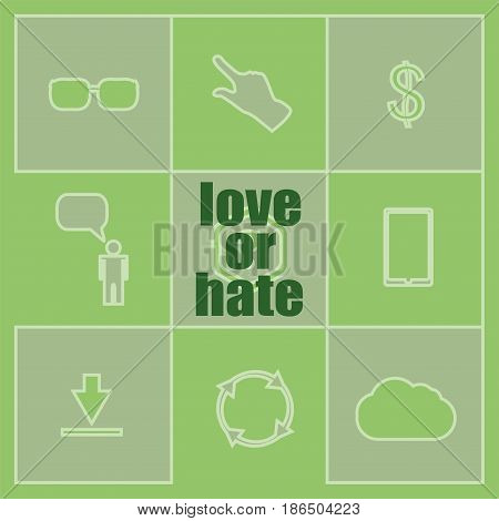 Love Or Hate Text. Social Concept . Set Of Infographics Elements