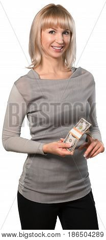 Woman stack of cash holding cash rich money stack cash