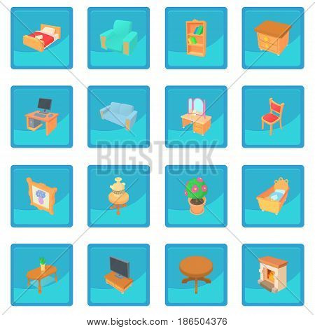 Different furniture icon blue app for any design vector illustration