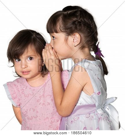 Child young friends whispering sisters siblings girls