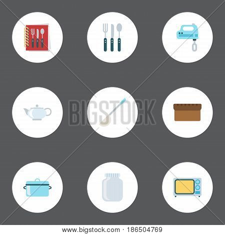 Flat Silverware, Blender, Casserole And Other Vector Elements. Set Of Kitchen Flat Symbols Also Includes Soup, Kettle, Teapot Objects.