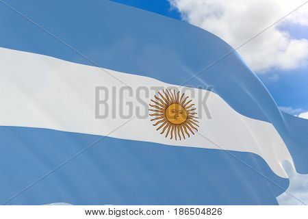 3D rendering of Argentina flag waving on blue sky background Independence Day is 9 July The Day of the National Flag is the holiday dedicated to the Argentine flag It is celebrated on June 20