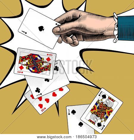 Woman's hand with playing cards fan. Vintage engraving stylized color drawing