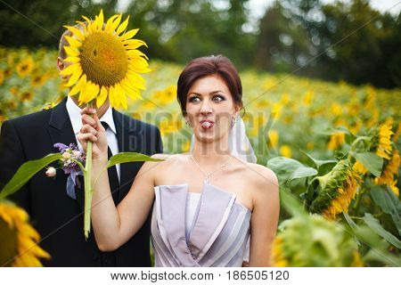 Funny Bride Holds A Huge Sunflower In The Front Of Groom's Face