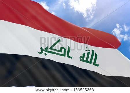3D Rendering Of Iraq Flag Waving On Blue Sky Background
