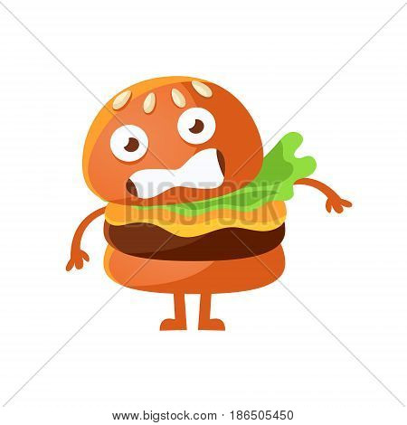 Frightened burger with big eyes. Cute cartoon fast food emoji character vector Illustration isolated on a white background