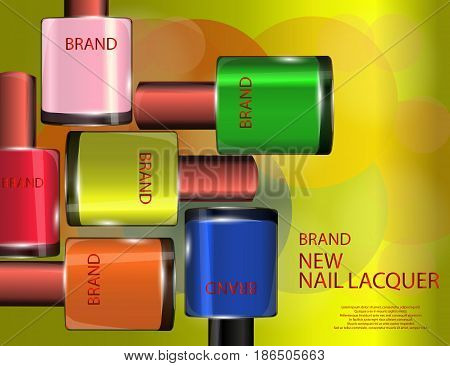 Colorful nail lacquer template glossy bottles on the sparkling effects background. Mock-up 3D Realistic Vector illustration for design template