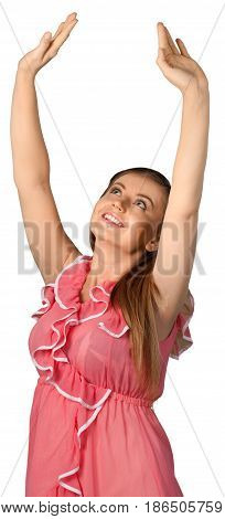 Jubilant young woman with her arms in the air