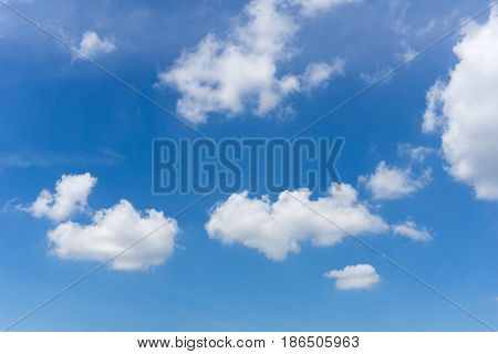 View on beautiful white clouds in a blue sky. Clouds and Skies in the Morning. Fresh Air. Cloudy Weather. Cloud Formations. White Clouds