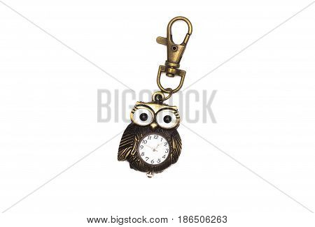 Pocket watch - key fob isolated isolated on white.
