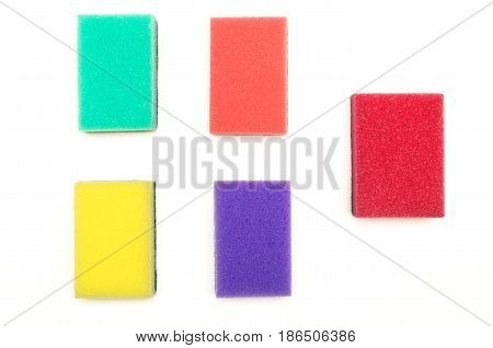 Color sponges isolated on white background. Set of wash sponges.