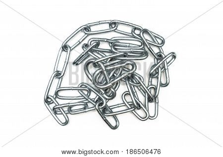 Chain isolated. The chain links isolated on white background.