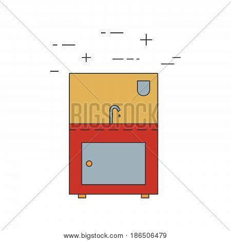 Sink outline vector icon. Restaurant color equipment.
