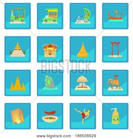 Thailand travel icon blue app for any design vector illustration