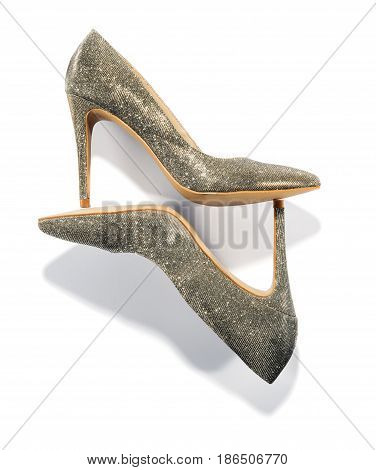 Pair Of High Heeled Stiletto Court Shoes