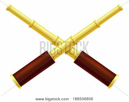 Spyglass isolated on a white background. Vector illustration.