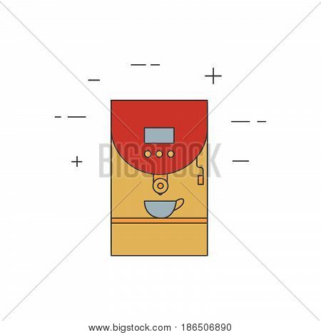 Coffee Machine Isolated Line Icon.