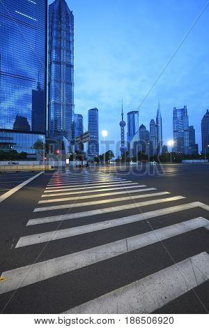 Empty Road Floor With City Landmark Buildings Backgrounds