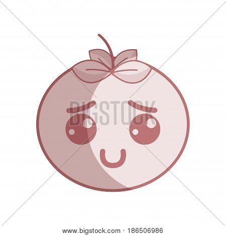 silhouette kawaii nice shy tomato vegetable, vector illustration