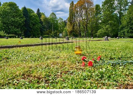 The Soviet Military Cemetery in Warsaw, Poland, is the burial place of 21, 468 Soviet soldiers who died fighting against Nazi Germany. It contains one of the first major monuments to be built in Warsaw to those who fought in the Second World War. It inclu