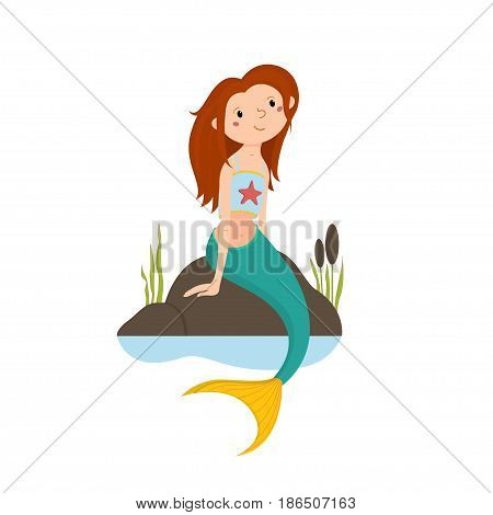 Little red haired mermaid sitting on rocks, looking up, cartoon vector illustration isolated on white background. Cartoon cute little mermaid girl sitting on rocks